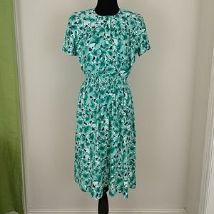 Vintage 1980s does 1940s Floral Day Dress sz s